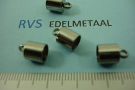 [ 8381 ] RVS,  Eindkapje 6 mm. inw. per 4 stuks