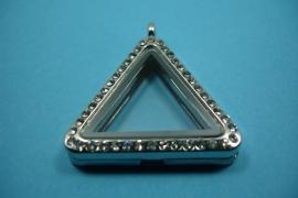 [ 6233 ] Locker Driehoek 33 mm. Zilverkleur met Glitter, per stuk
