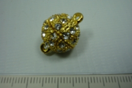 [ 0761 ] Magneet slot 15 mm. met strass, Goudkleur, per stuk