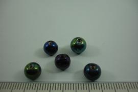 [ 6701 ] Keramiek kraal +/- 6 mm.  Olie AB kleur, per 15 stuks