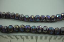 [ 6745 ] Fzet Spacer glaskraal 6 mm. Lila AB, per streng