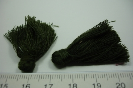 [ 6062 ] Kwastjes +/- 3 cm. Leger Groen, 4 stuks