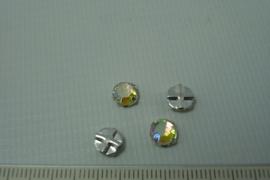 [0655 ] Kruislinks kraaltje 6 mm. Kristal AB, per stuk
