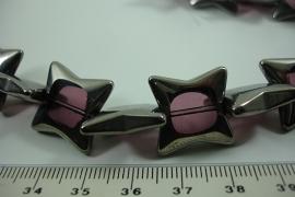 [ 6473 ] Glas kraal Ster 18 mm. Paars met Zilverrand, 18 stuks