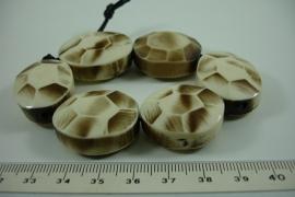 [ 6354 ] Kunsstof kraal 29 mm. ovaal, Beige Bruin, 6 stuks
