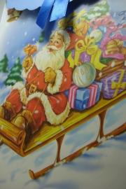 *[ 5970 ] Kerst tas 19 x 27 cm. Kerstman op slee, per stuk