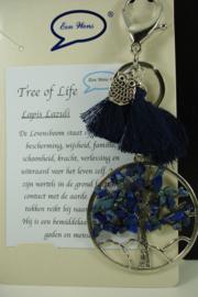 [ 6845 ] Sleutel/Tas hanger Levensboom, Lapis Lazuli