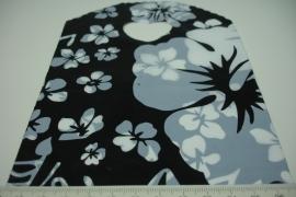 [ 8242 ] Tasje 21 x 13 cm. Zwart met Witte bloem, 50 stuks