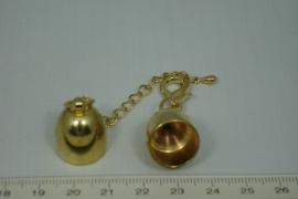 [0446 ] Inlijmkap 14 mm. met slot, Goudkleur, per set