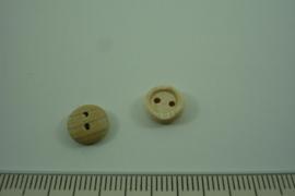 [ 1084 ] Houten Knoop 8 mm. 2 gats, per stuk