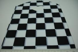 [ 8240 ] Tasje 21 x 13 cm. Zwart/Wit geblokt, 50 stuks