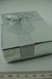 *[ 9289 ] Kado doosje 8x11x3 cm.  Zilver, per stuk
