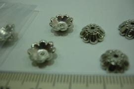 (5215) Kralen kapje 10 mm chroom. 20 stuks.