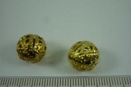 [ 6821 ] Filigrein kraaltje 12 mm. Verguld, per 2 stuks