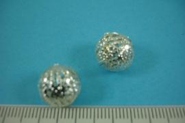 [ 6812 ] Filigrein kraaltje 12 mm. Verzilverd, per 2 stuks
