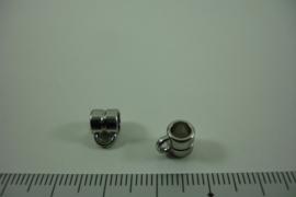 [ 1306 ] Tussen kraal 6 mm. breed met 1 oog, Zilverkleur, per stuk