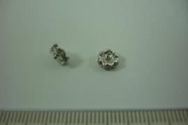 [ 1315 ] Rondel 6 mm. Zilverkleur met Kristal helder, per stuk