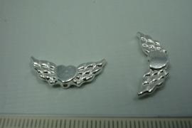 [ 0772 ] Vleugel met hart 22 mm. Verzilverd, per stuk