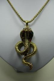 [ 6223 ] Ketting met Cobra Slang Hanger, Donker Goud, per stuk