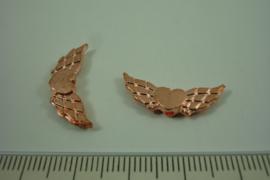 [ 1320 ] Vleugel 22 mm. met hartje, Rosé kleur, per stuk