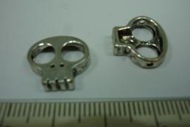 [ 0753 ] Doodshoofd groot oog 15 mm.  metaal zilverkleur, per stuk