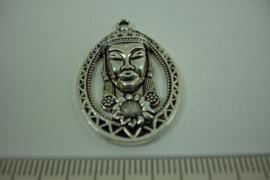 [ 1276 ] Boeddha in sierrand 35 mm.  Zilverkleur, per stuk