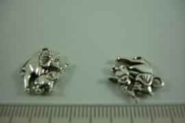 [ 1268 ] Olifantjes  15.6 x 14.4 mm. Zilverkleur, per stuk