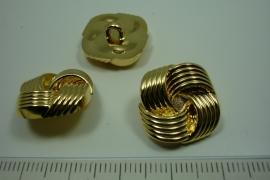 [ 0894 ] sluit Knoop 18 x 19 mm. Kunstof, Goud, per stuk
