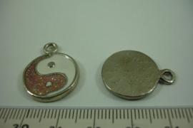 [ 1300 ] Jing Jang hangertje Bruin/Wit  23.5 x 18.5 mm. per stuk