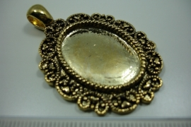 [ 0856 ] Cabochon houder ovaal 40 x 32 mm. Goud kleur, per stuk