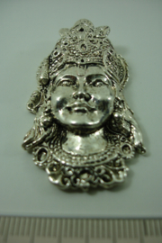 [ 1076 ] Boedha masker 5 cm.   Zilverkleur, metaal, per stuk