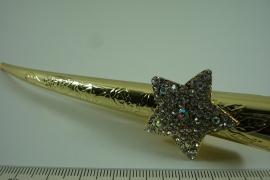 *[ 6651 ] Haarspeld 13 cm. Goudkleur met Strass op Ster, per stuk