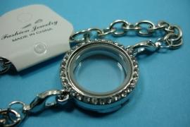 [ 6253 ] Armband 19 cm. met Locker Rond 25 mm. Zilverkleur met Glitter, per stuk