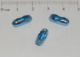 (0156) Slotje balletjes ketting 3,8 mm lichtblauw.