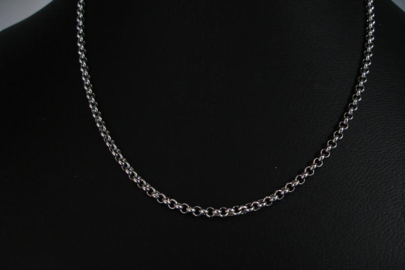 [ 8521-40 ] RVS Ketting 40 cm. van 3 mm. Jasseron,  met slotje