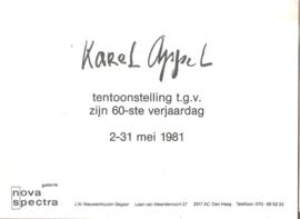 Appel, Karel: tentoonstelling t.g.v. zijn 60-ste verjaardag