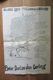 Provo-Poster Klaas Sjek-Toegangsbewijs Beter Oorlam dan Oorlog