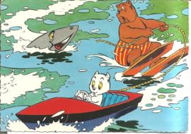 Tom Poes en Heer Bommel, achtervolgd door haai