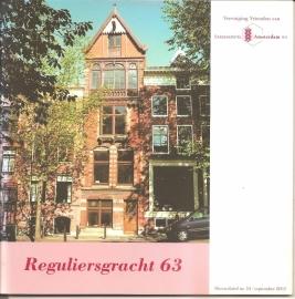 """Vereniging Vrienden van Stadsherstel Amsterdam: """"Reguliersgracht 63"""""""