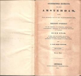 """Vijver, C. van der: """"Geschiedkundige beschrijving der stad Amsterdam"""" (alle 4 delen)"""