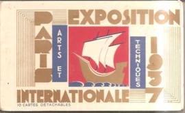 Parijs: mapje met 10  ansichtkaarten uit 1937