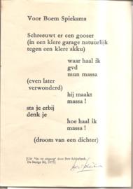 Schierbeek, Bert: Voor Boem Spieksma (gesigneerd)