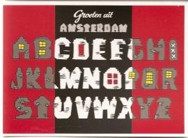 """Ansichtkaart: """"Amsterdam Alfabet""""."""