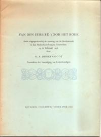 """Donkersloot, N.A.: """"Van den eerbied voor het boek"""". (t.g.v. BoEkenweek 1952)"""