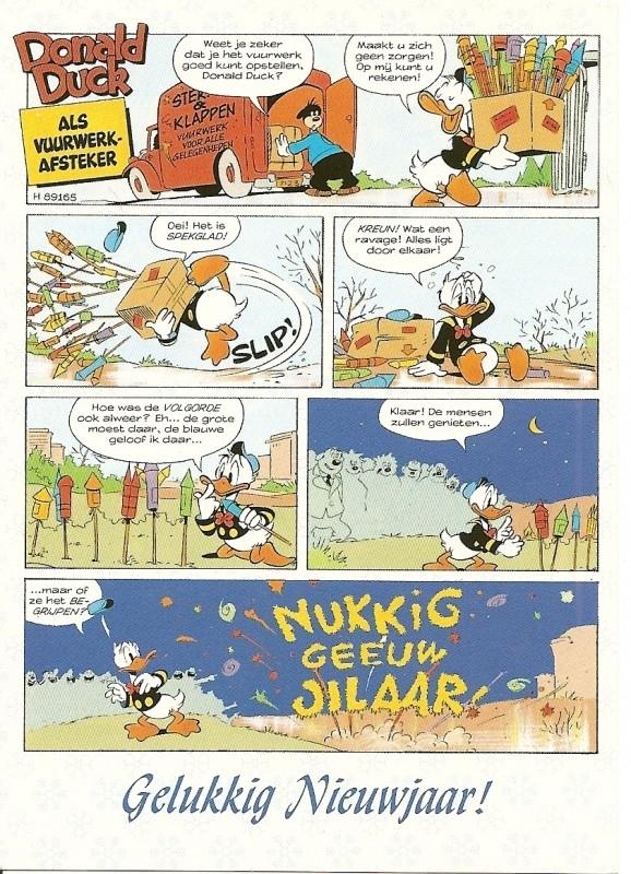 Donald Duck als vuurwerkafsteker.