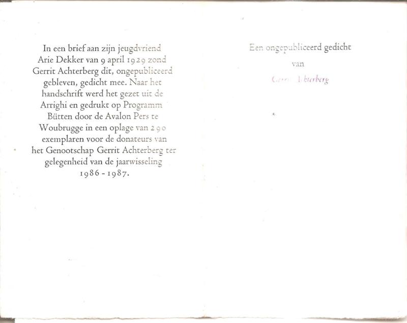 Achterberg, Gerrit: Een ongepubliceerd gedicht van -