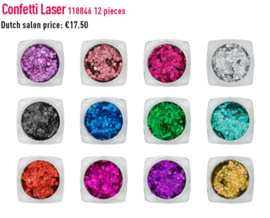 Nail art Confetti laser 12 kleuren in doos. 118846