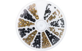 Magnetic rhinestones Carousel Black & Gold 6 Sizes 270 stuks  118307