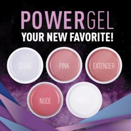 PowerGel Kit 5 Kleuren van 30 gram. Clear-Pink-White-Nude-Extender in pot.