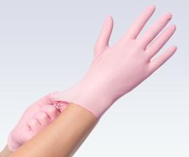handschoenen nitril poedervij 100 stuks rose medium
